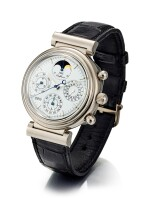 IWC | DA VINCI, A WHITE GOLD PERPETUAL CALENDAR CHRONOGRAPH WRISTWATCH WITH MOON PHASES, LEAP YEAR INDICATION AND DIGITAL YEAR DISPLAY, CIRCA 1990