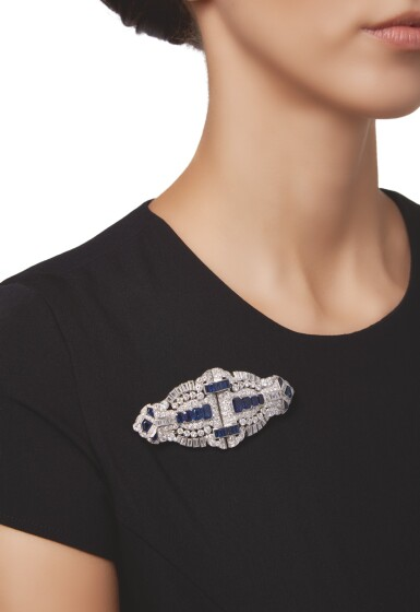 View 2. Thumbnail of Lot 603. SAPPHIRE AND DIAMOND DOUBLE CLIP-BROOCH | 藍寶石配鑽石別針.
