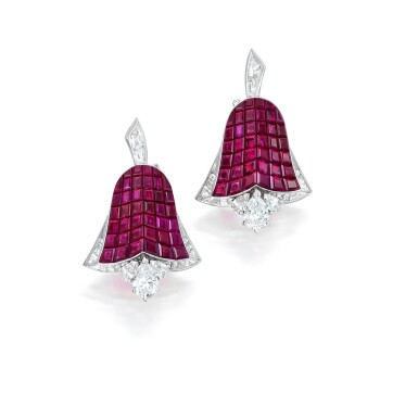 View 1. Thumbnail of Lot 78. Van Cleef & Arpels   Pair of Mystery-Set Ruby and Diamond Earclips, France.
