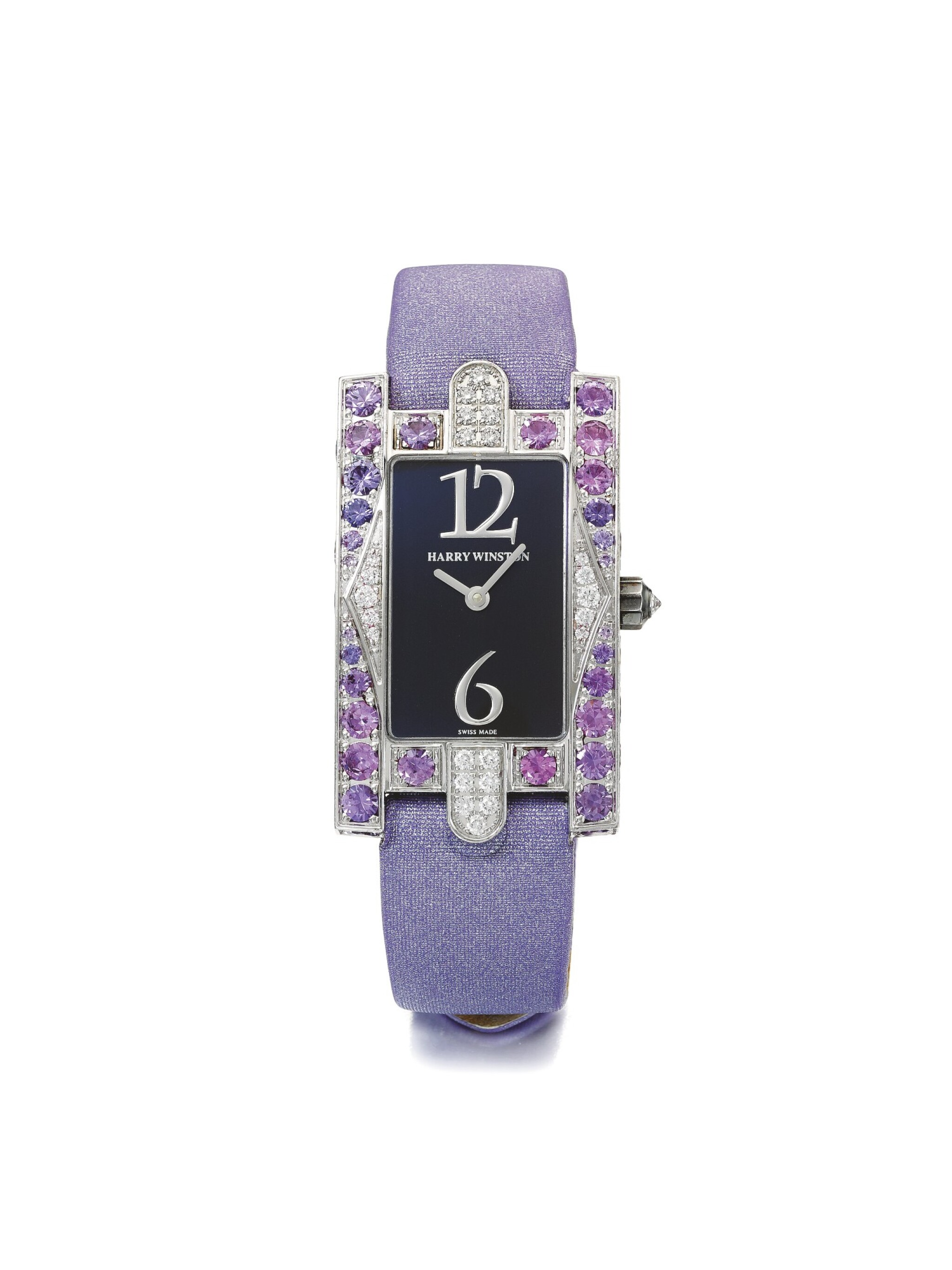View full screen - View 1 of Lot 129. HARRY WINSTON | AVENUE, A WHITE GOLD, DIAMOND, AND AMETHYST SET RECTANGULAR WRISTWATCH CIRCA 1995.