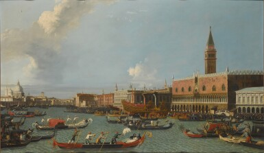 View 1. Thumbnail of Lot 204. Venice, a view of the Palazzo Ducale from the Bacino, with the Bucintoro returning to the Molo on Ascension Day.