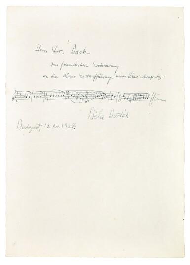 View 4. Thumbnail of Lot 92. Vienna. Autograph manuscripts by Bartok, Berg, Schoenberg, Strauss, Webern, Kokoschka, Schnitzler etc to D.J. Bach, 1924.