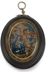 PROBABLY SPANISH OR PORTUGUESE, EARLY 18TH CENTURY   Oval Pendant Box with Miniatures of the Virgin and Mary Magdalene adoring the Crucifix