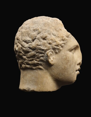 View 3. Thumbnail of Lot 22. A GREEK MARBLE HEAD OF A YOUTH, 3RD QUARTER OF 4TH CENTURY B.C..