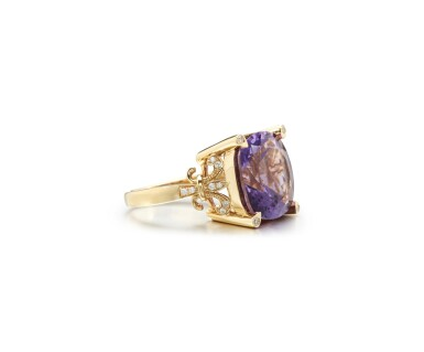 View 2. Thumbnail of Lot 16. AMETHYST AND DIAMOND RING.