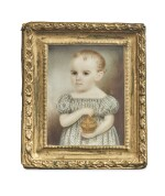 MRS. MOSES B. RUSSELL (CLARISSA PETERS) | MINIATURE PORTRAIT OF GIRL IN A SPOTTED WHITE DRESS HOLDING A BASKET