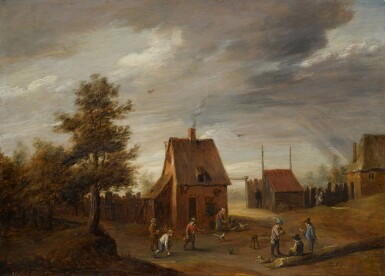 THOMAS VAN APSHOVEN | A village landscape with figures playing ball games