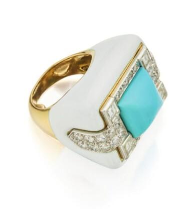 View 2. Thumbnail of Lot 4. DAVID WEBB   ENAMEL, TURQUOISE AND DIAMOND RING.