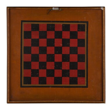 View 2. Thumbnail of Lot 1454. AMERICAN POLYCHROME-PAINTED WOODEN DOUBLE-SIDED PARCHEESI GAMEBOARD, CIRCA 1880.