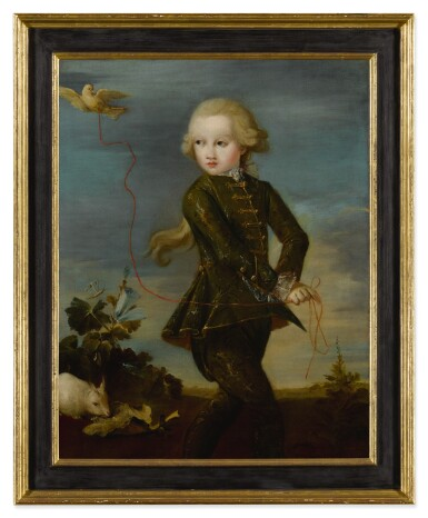 View 2. Thumbnail of Lot 526. Portrait of a boy of the Gradenigo family, possibly Ferigo (Born 1758), full length, with his pet dove on a ribbon, a white rabbit in the background.