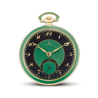 View 1. Thumbnail of Lot 2268. OMEGA | A YELLOW GOLD, BLACK AND GREEN ENAMEL OPENFACE WATCH, CIRCA 1920  | 奧米茄 | 黃金黑色及綠色琺瑯懷錶,機芯編號6337800,錶殼編號6919752,約1920年製.