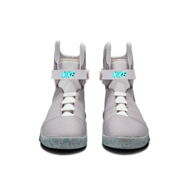View 6. Thumbnail of Lot 1. Michael J. Fox Dual Signed Nike MAG 'Back to the Future' | 2011.