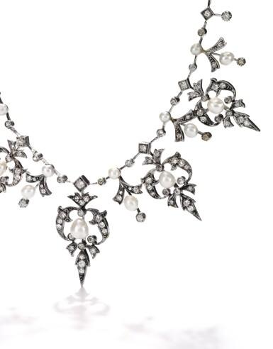 NATURAL PEARL AND DIAMOND TIARA/NECKLACE, CIRCA 1900