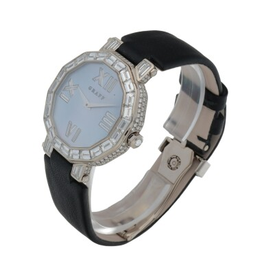 View 2. Thumbnail of Lot 419. REF GXXVI WHITE GOLD AND DIAMOND-SET WRISTWATCH WITH MOTHER-OF-PEARL DIAL CIRCA 2010.