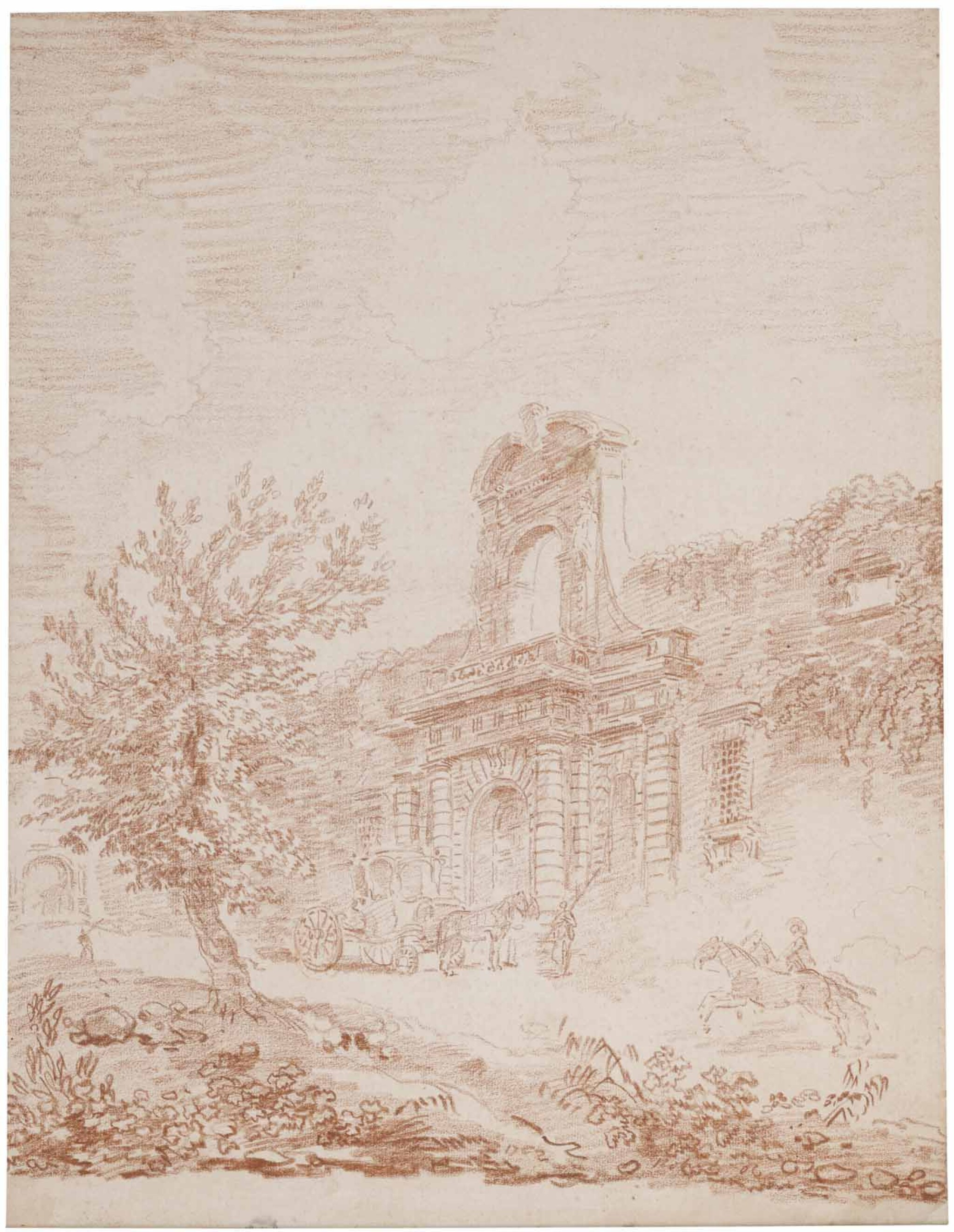 View full screen - View 1 of Lot 4. HUBERT ROBERT   VIGNOLA'S GATE TO THE FARNESE GARDENS, ROME, WITH A COACH AND HORSES.