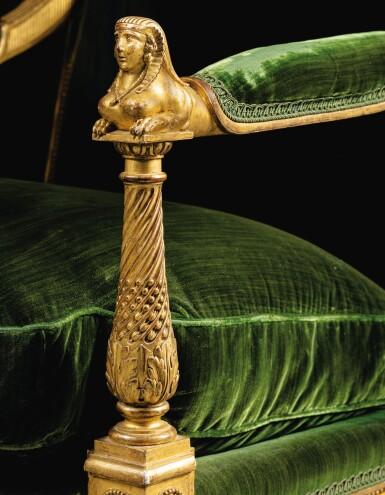 View 5. Thumbnail of Lot 18. A CARVED GILTWOOD ARMCHAIR WITH SPHINXES, LOUIS XVI, BY MATHIEU DE BAUVE, CIRCA 1785 | FAUTEUIL AUX SPHINGES EN BOIS SCULPTÉ ET DORÉ D'ÉPOQUE LOUIS XVI, VERS 1785, PAR MATHIEU DE BAUVE.