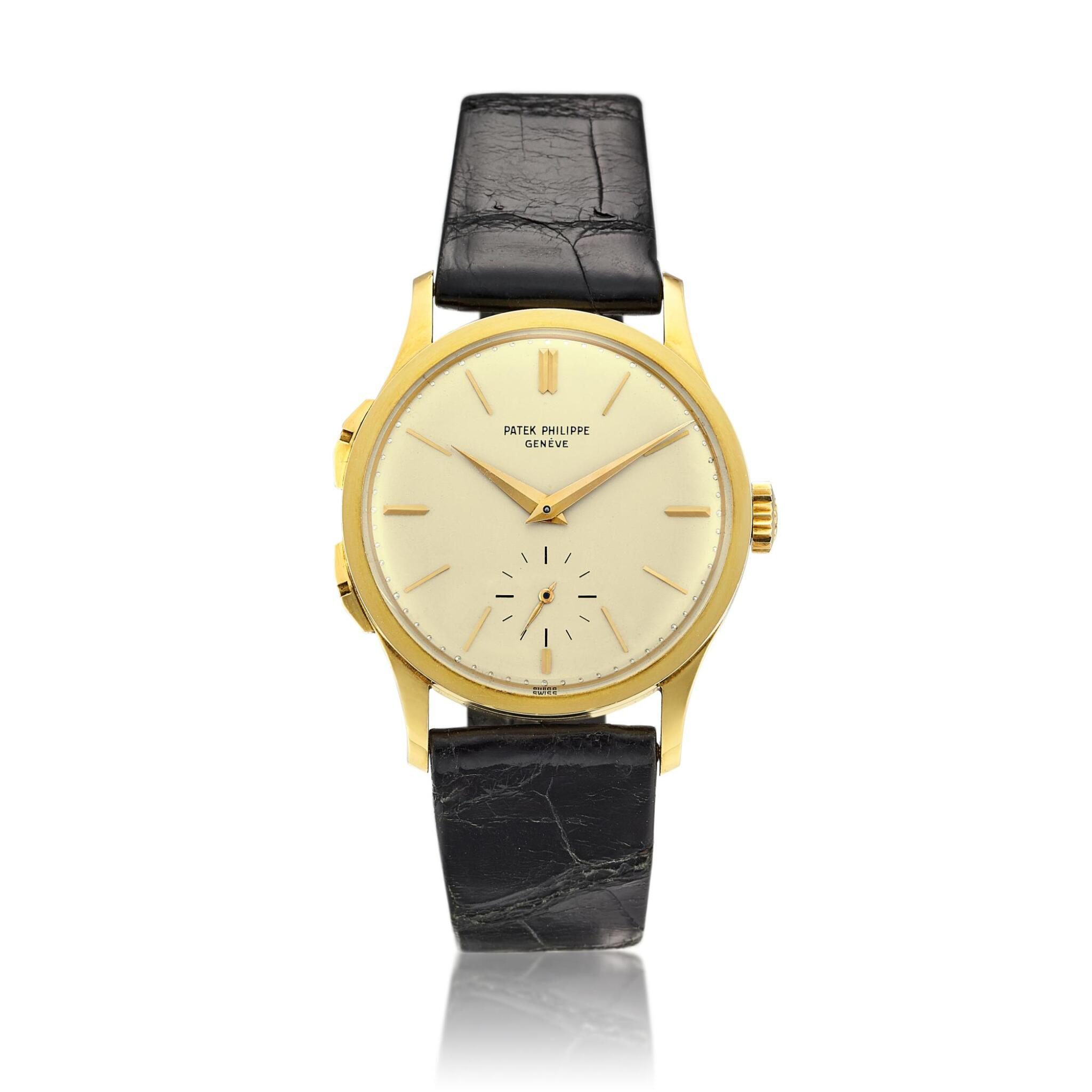 View full screen - View 1 of Lot 2266. Push Button Time, Reference 2597 | A yellow gold travel time wristwatch, Made in 1963 | 百達翡麗 | Push Button Time 型號2597 | 黃金旅行時間腕錶,1963年製.