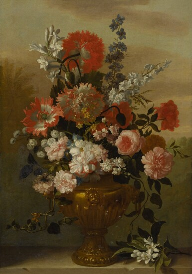 View 2. Thumbnail of Lot 117. Still life of flowers in a vase, upon a stone ledge.