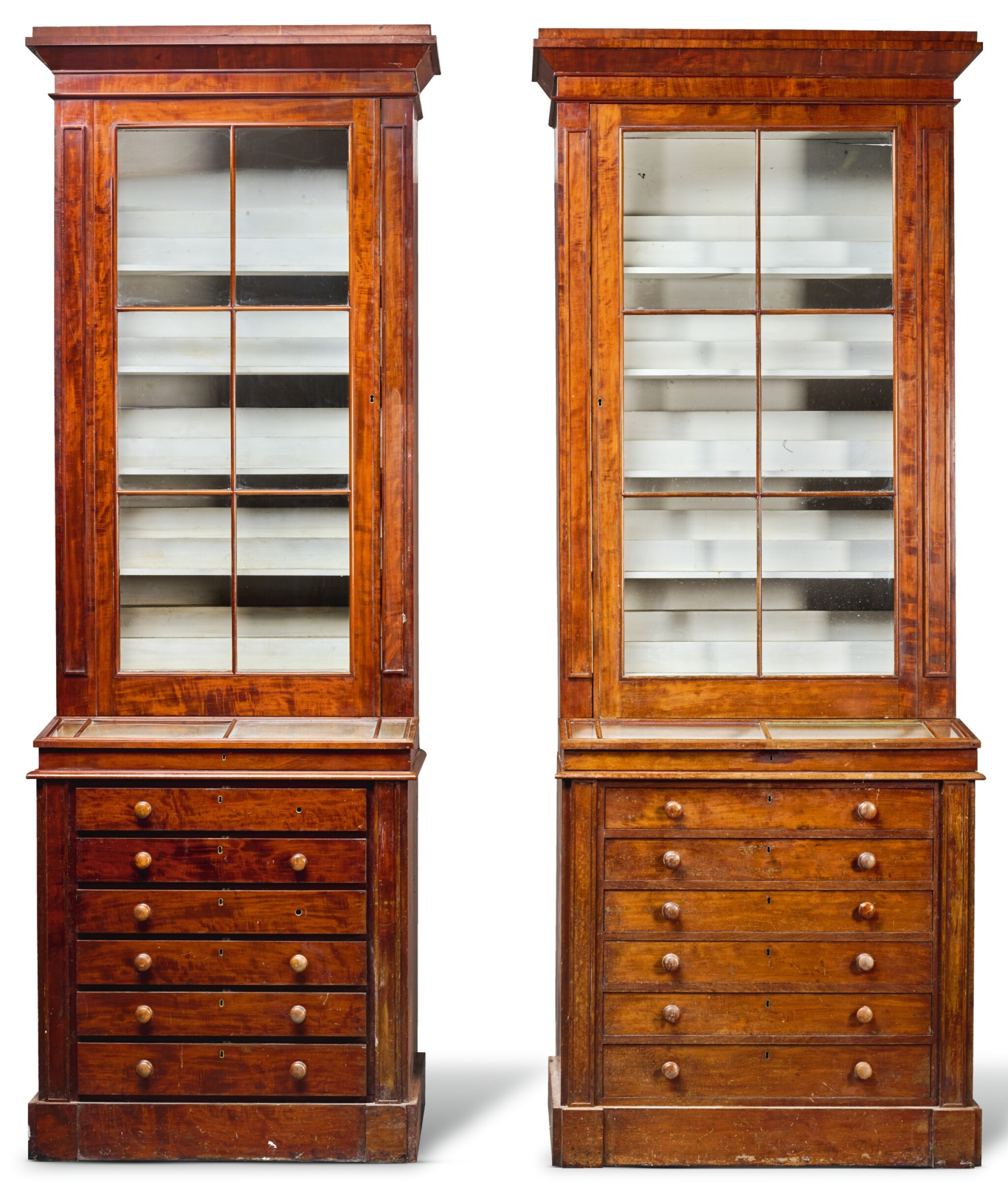 View full screen - View 1 of Lot 216. A NEAR PAIR OF WILLIAM IV MAHOGANY MUSEUM CABINETS, CIRCA 1835.