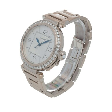View 2. Thumbnail of Lot 470. Pasha, Ref. 2765 White gold and diamond-set wristwatch with bracelet Circa 2005   卡地亞 2765型號「Pasha」白金鑲鑽石鍊帶腕錶,年份約2005.