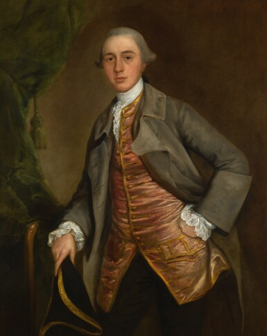 View 1. Thumbnail of Lot 165. THOMAS GAINSBOROUGH, R.A. | Portrait of John Richards, three-quarter-length, wearing a green coat and holding a tricorn hat.