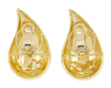 View 4. Thumbnail of Lot 15. TIFFANY & CO.   PAIR OF GOLD EARCLIPS.