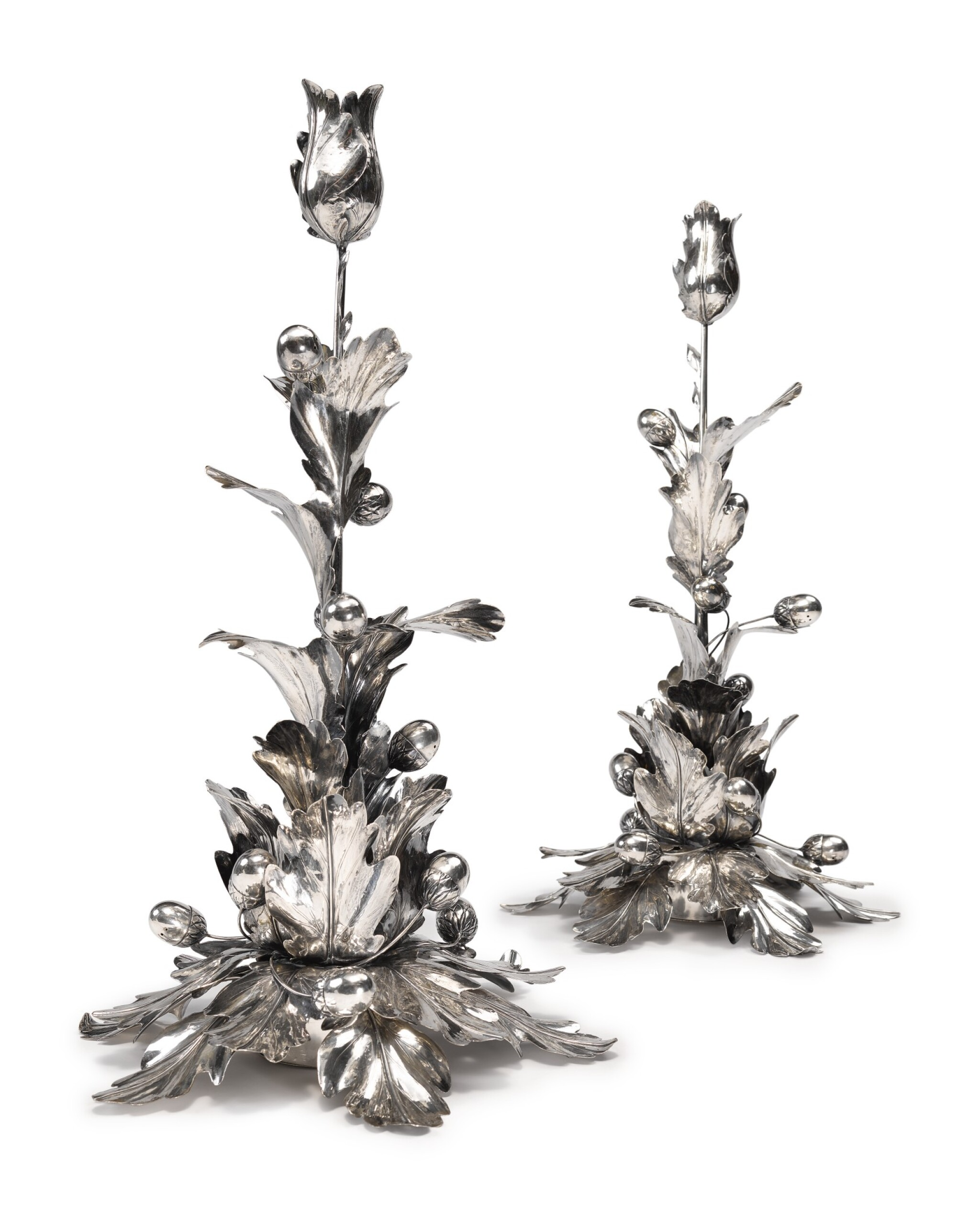 View full screen - View 1 of Lot 234. A PAIR OF TALL ITALIAN SILVER CANDLESTICKS, FLORENCE, SECOND HALF 20TH CENTURY.