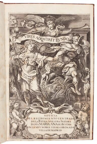 View 1. Thumbnail of Lot 177. Noticia del recibimiento i entrada de la reyna... doña Maria-Ana de Austria, [Madrid, c. 1650].