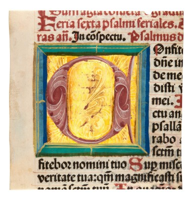View 3. Thumbnail of Lot 1. Nine manuscript leaves, mostly 15th century, from books of hours and prayerbooks, on vellum.