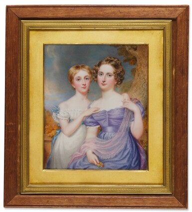 View 1. Thumbnail of Lot 467. Portrait of Helena and Beatrice, daughters of Sir John Trevelyan, 4th Bt of Nettlecombe Court, Somerset, 1827.
