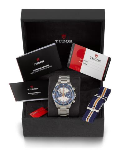 TUDOR | HERITAGE CHRONO BLUE, REFERENCE 70330B STAINLESS STEEL CHRONOGRAPH WRISTWATCH WITH DATE AND BRACELET  CIRCA 2019