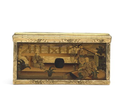 View 6. Thumbnail of Lot 11. A rare marquetry fruitwood snuff box with gold mounts, German, circa 1765.