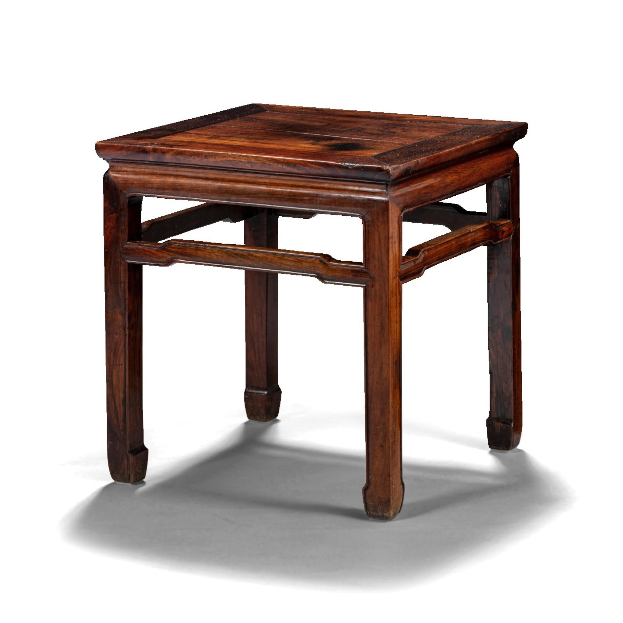 View 1 of Lot 94. Beau tabouret carré en hongmu Dynastie Qing, XIXE siècle   清十九世紀 紅木束腰馬蹄足方凳   A square hongmu stool, Qing Dynasty, 19th century.