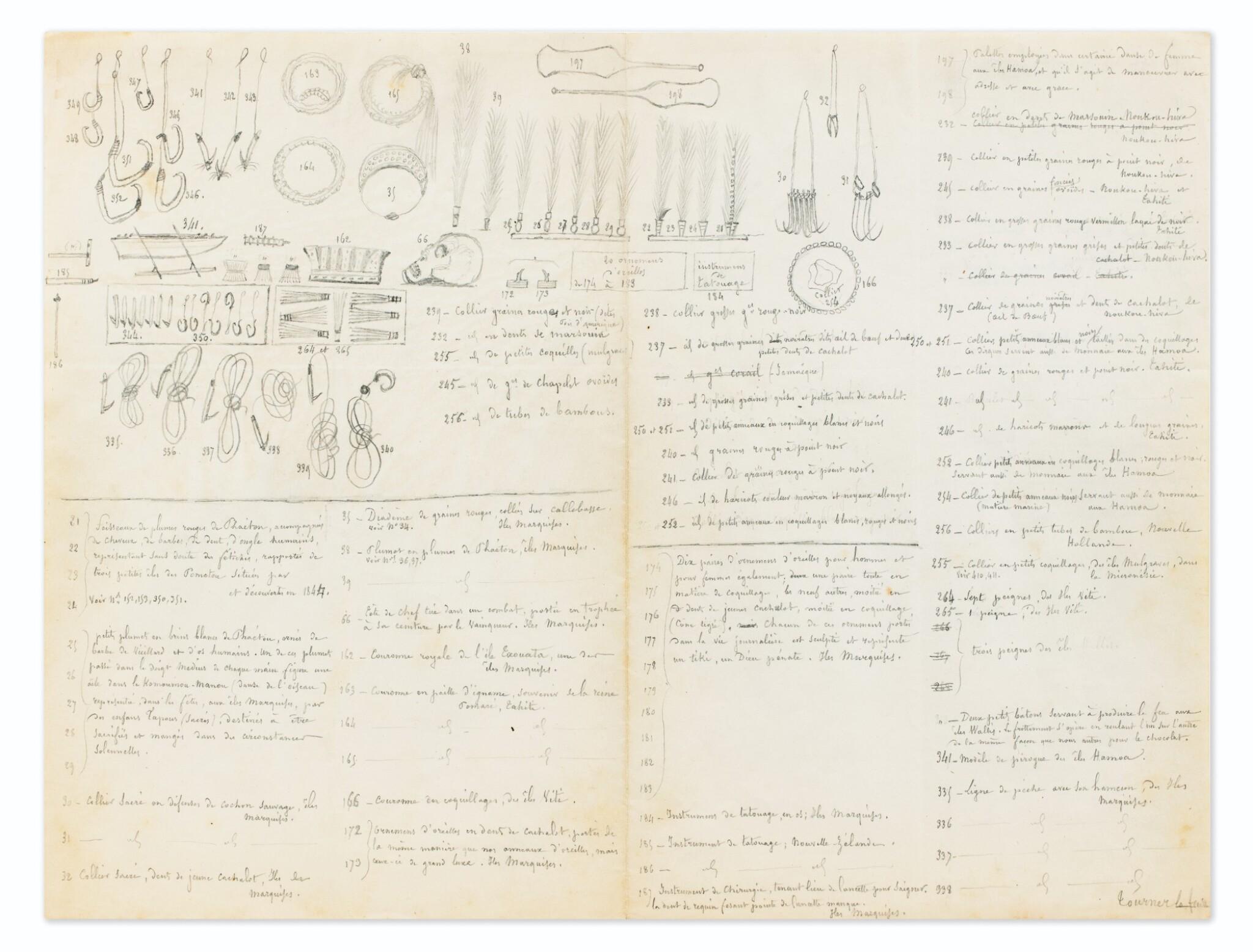 View full screen - View 1 of Lot 50. RADIGUET. Dessins originaux et manuscrits autographes [vers 1860 ?].