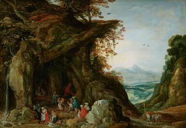 View 1. Thumbnail of Lot 60. WORKSHOP OF JOOS DE MOMPER | Landscape with gypsies in a cave.