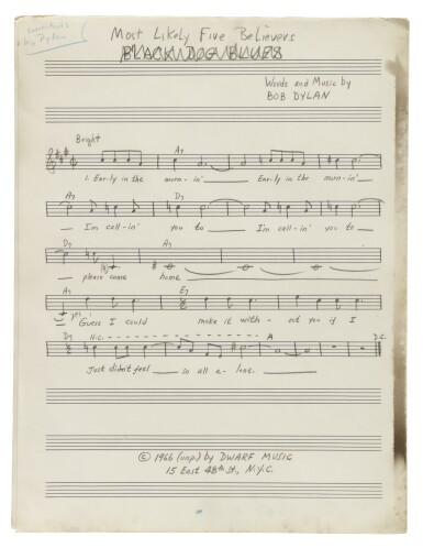 """View 8. Thumbnail of Lot 139. [DYLAN, BOB] 