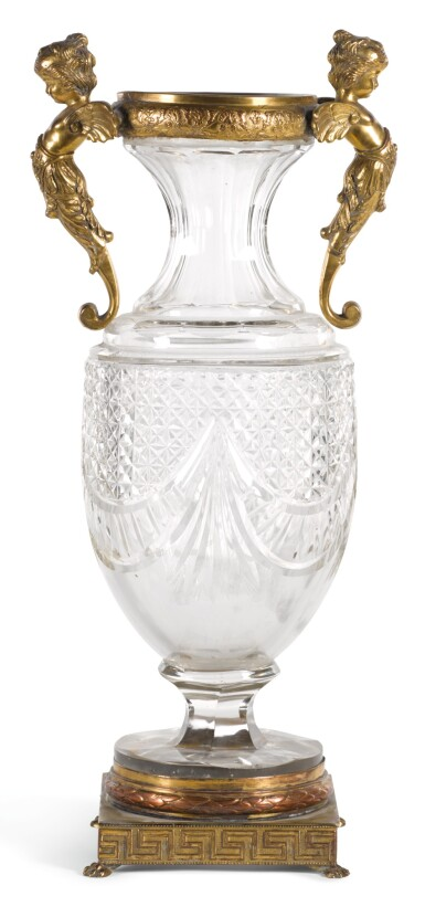 A GILT-METAL MOUNTED CUT GLASS VASE LATE 19TH CENTURY/EARLY 20TH CENTURY