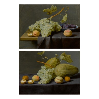 JACOB VAN ES | STILL LIFE OF GRAPES, PEACHES, AND A WALNUT, TOGETHER WITH PLUMS IN A BLUE AND WHITE PORCELAIN BOWL, ALL UPON A PARTLY DRAPED STONE LEDGE;   STILL LIFE OF HONEY MELONS, GRAPES, PEACHES, AND WALNUTS, ALL UPON A STONE LEDGE