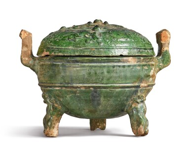 View 4. Thumbnail of Lot 1069. A GREEN-GLAZED POTTERY DING AND COVER, HAN DYNASTY.