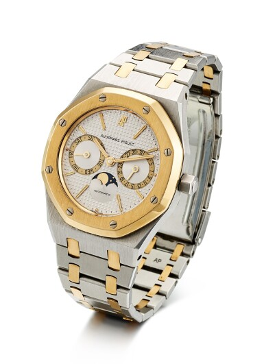 View 2. Thumbnail of Lot 8195. AUDEMARS PIGUET   ROYAL OAK, REFERENCE 25594SA, A YELLOW GOLD AND STAINLESS STEEL WRISTWATCH WITH DAY, DATE AND BRACELET, 1990.