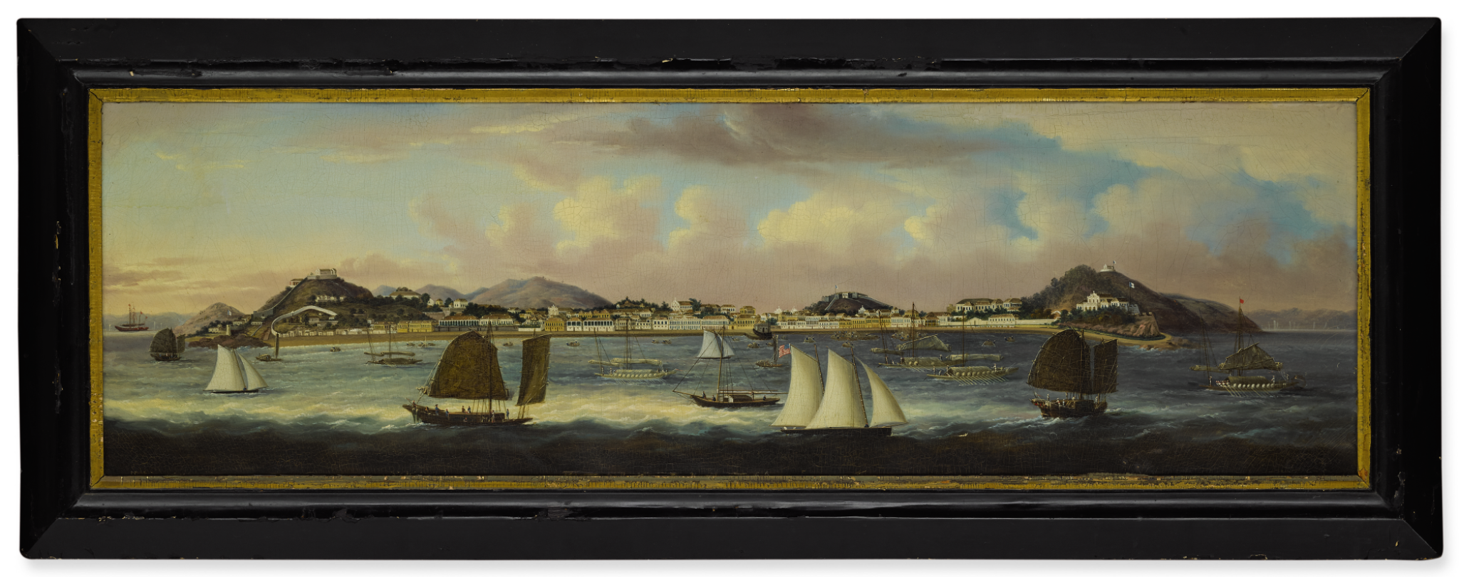 View full screen - View 1 of Lot 1199. A RARE AND IMPRESSIVE PANORAMIC VIEW OF MACAO, ATTRIBUTED TO SUNQUA QING DYNASTY, CIRCA 1850 | 清 約1850年 新呱(傳)澳門南灣全景遠眺 油彩 裝框.