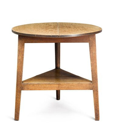 View 1. Thumbnail of Lot 9. A George III oak cricket table, late 18th century.