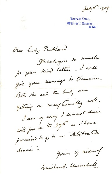 """View 1. Thumbnail of Lot 22. Winston S. Churchill   Autograph letter signed (""""Winston Churchill"""") to Lady Pentland, 15 July 1909."""