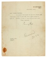 VICOUNTESS ASTOR | typed letter signed, to T.E. Lawrence, 1924