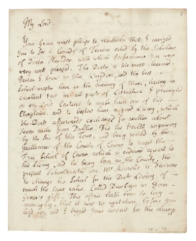 View 1. Thumbnail of Lot 243. Jonathan Swift   Autograph letter signed, to the Duke of Dorset, in support of his friend Thomas Sheridan, 22 March 1735.