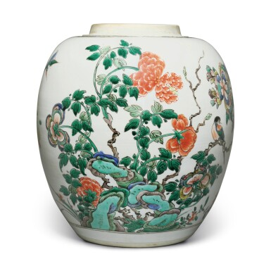 View 1. Thumbnail of Lot 4. A famille-verte 'bird and flower' jar, Qing dynasty, Kangxi period.