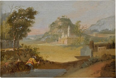 View 4. Thumbnail of Lot 103. View of a port, with fishermen coming to shore; A fisherman along a riverbank, a hillside town beyond.