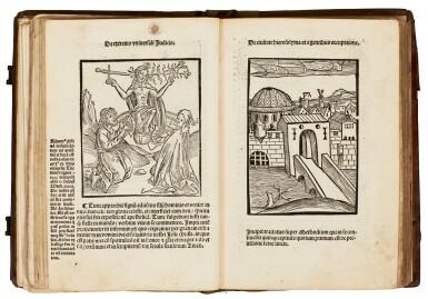 View 1. Thumbnail of Lot 127. Geoffrey of Monmouth, Methodius, Tiraqueau, Grapaldus, Paris, 1507-1517, English stamped calf.