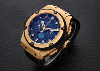 View 1. Thumbnail of Lot 1. Piece Unique King Power 'Diego Maradona' A unique pink gold and titanium automatic chronograph wristwatch with high frequency oscillations, Circa 2012.