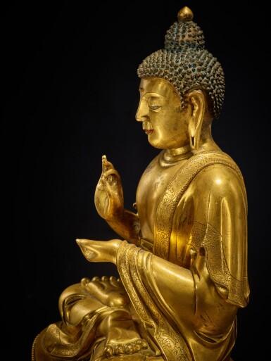 View 7. Thumbnail of Lot 60. A large gilt-bronze figure of Dipankara Buddha, Qing dynasty, Kangxi period | 清康熙 銅鎏金燃燈佛坐像.